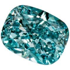 Fancy Vivid Green Blue Diamond VS2 Cushion GIA Certified 0.60 Carat