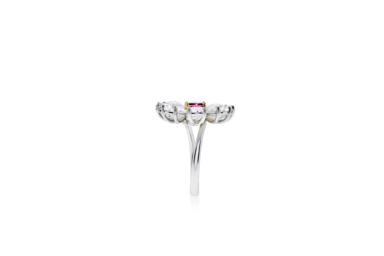 Fancy Vivid Pink Radiant Cut GIA Certified Floral Ring  In New Condition For Sale In New York, NY