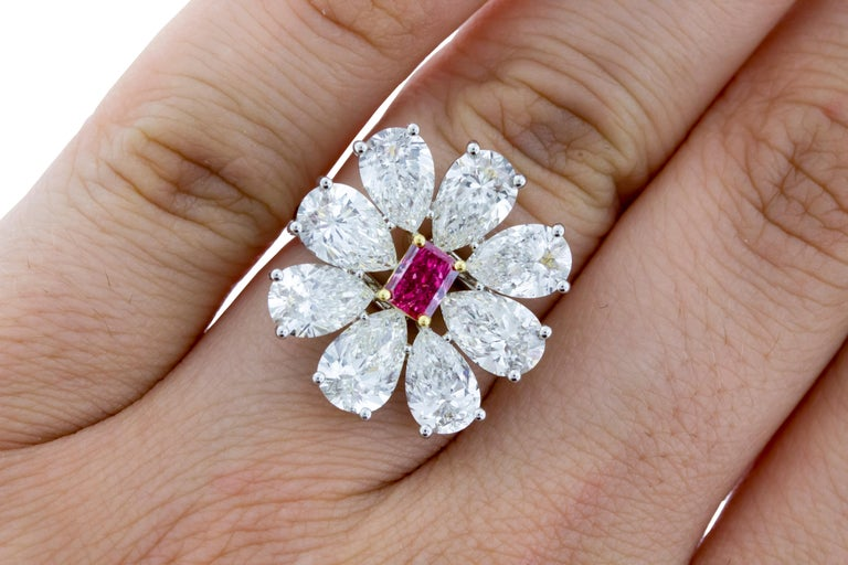 Women's Fancy Vivid Pink Radiant Cut GIA Certified Floral Ring  For Sale