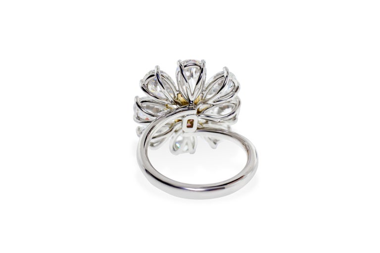 Fancy Vivid Pink Radiant Cut GIA Certified Floral Ring  For Sale 2