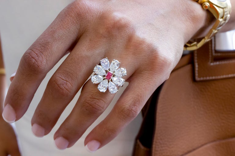 Fancy Vivid Pink Radiant Cut GIA Certified Floral Ring  For Sale 4