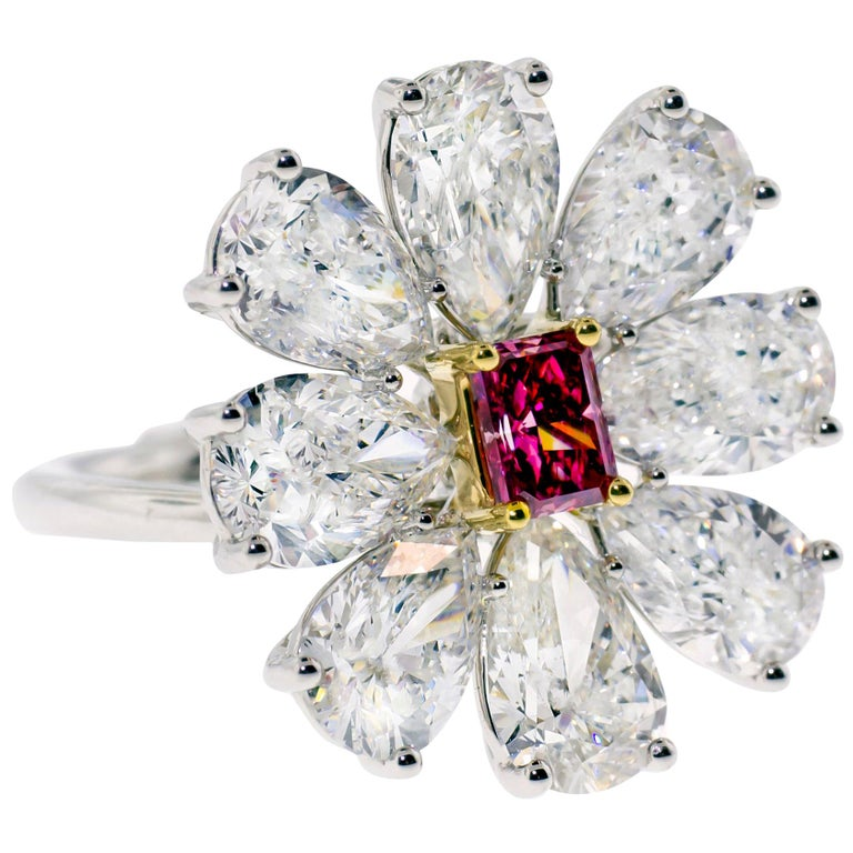 Fancy Vivid Pink Radiant Cut GIA Certified Floral Ring  For Sale