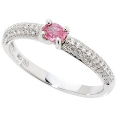 Fancy Vivid Purplish Pink 0.18 Carat GIA Certified Diamond Ring