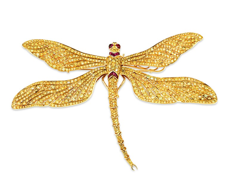 Contemporary Fancy Vivid Yellow Diamond Dragonfly Brooch For Sale
