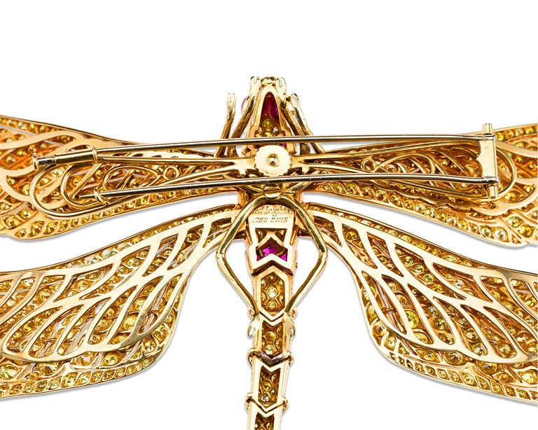 Women's Fancy Vivid Yellow Diamond Dragonfly Brooch For Sale