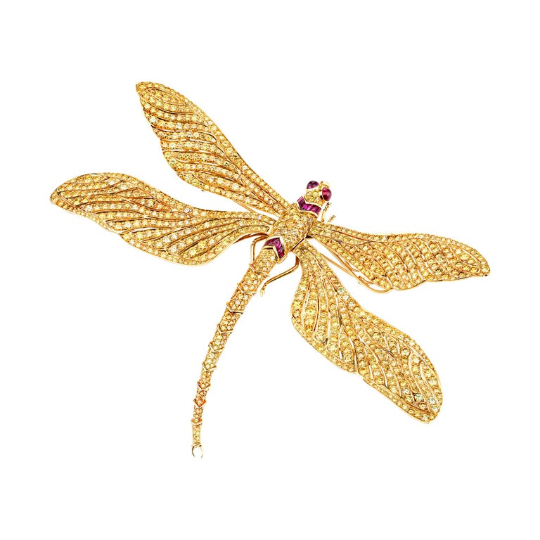Fancy Vivid Yellow Diamond Dragonfly Brooch For Sale