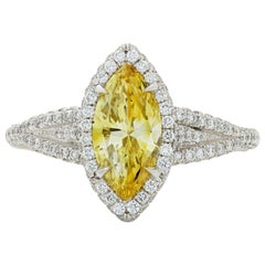 Neil Lane Couture Fancy Vivid Yellow Diamond, Platinum Ring