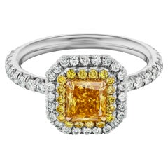 Fancy Vivid Yellow Orange GIA Micropave Halo Diamond Engagement Ring