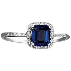 Fancy White Gold Engagement Blue Sapphire Solitaire Ring