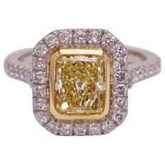 Fancy Yellow 1.11 Carat Certified Diamond Engagement Ring