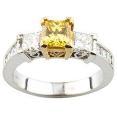 Fancy Yellow 1.30 carat Princess Cut Diamond 3 Stone 18k Gold Engagement Ring