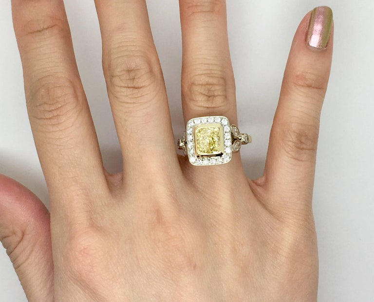 Fancy Yellow 1.66 Carat Cushion Cut Diamond Ring For Sale 1