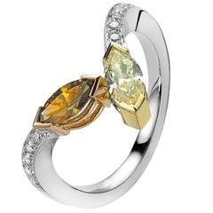 Fancy-Yellow and Cognac Diamond Toi & Moi Ring Van der Veken