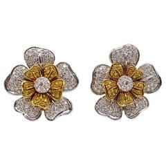 Fancy Yellow and White Diamond 18 Karat Gold Flower Ear Clips