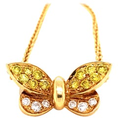 Fancy Yellow and White Diamond Butterfly Necklace 18 Karat Gold 1.01 Carat