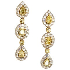 Fancy Yellow and White Diamond Chandelier Earrings