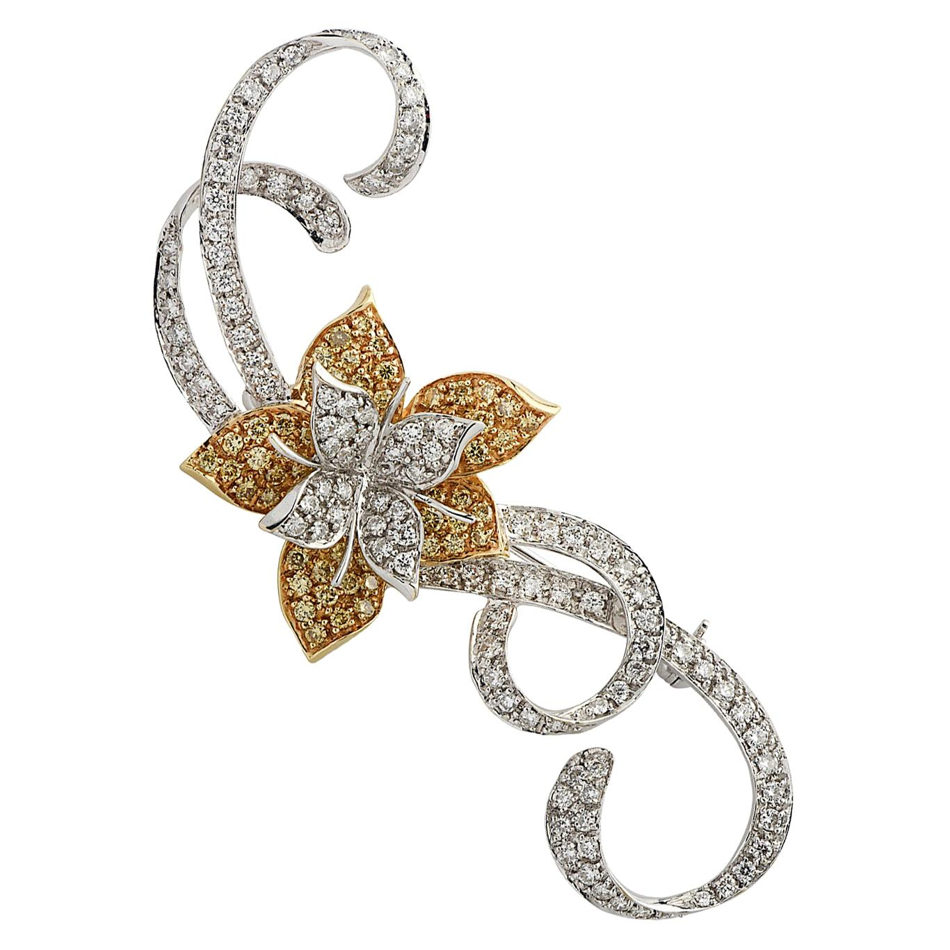 Fancy Yellow and White Diamond Flower Brooch Pin