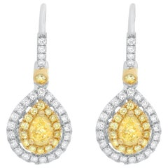 Fancy Yellow and White Diamond Lever Back Earrings Set in 18 Karat Gold