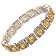 Fancy Yellow and White Diamond Modern Bracelet