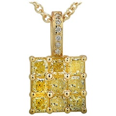 Fancy Yellow and White Diamond Necklace and Pendant
