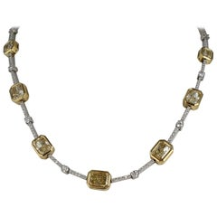 Fancy Yellow and White Diamond Necklace Set in 18 Karat Yellow Gold and Platinum