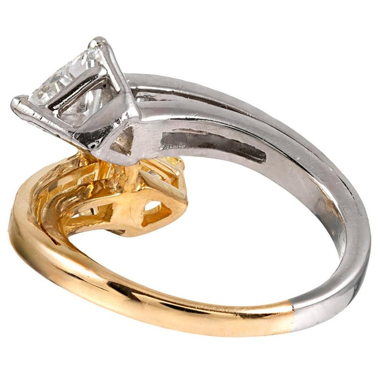 Fancy Yellow And White Diamond Toi Et Moi Bypass Ring At