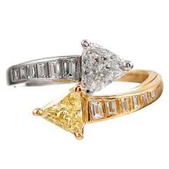 "Fancy Yellow and White Diamond ""Toi et Moi"" Bypass Ring"