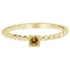 Fancy Yellow Brilliant Cut Diamond Solitaire, Twisted 18 Karat Gold Band