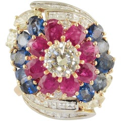 Fancy Yellow Central Diamond Sapphires Rubies Rose, White Gold Ring