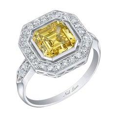 Neil Lane Couture Fancy Yellow Color Square Emerald-Cut Diamond, Platinum Ring