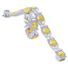 Fancy Yellow Cushion and White Halo Bracelet, 15.06 Carat