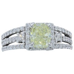 Fancy Yellow Cushion Cut 1.96 Carat Diamond Ring in 14 Karat White Gold GIA