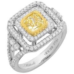 Fancy Yellow Cushion Cut Diamond 18 Karat Two-Tone Gold Halo Cluster Ring