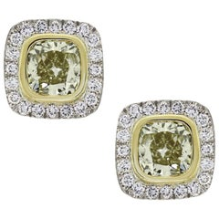 Fancy Yellow Cushion Cut Diamond Halo Earrings