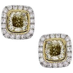 Fancy Yellow Cushion Cut Diamond Halo Earrings
