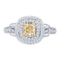 Fancy Yellow Cushion Cut Diamond with Two Princess Cut Diamonds & Double Halo