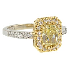 Fancy Yellow Cushion Cut Halo Set Diamond Engagement Ring