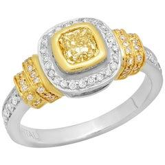 Fancy Yellow Cushion Diamond 18 Karat Two-Tone Gold Halo Solitaire Ring