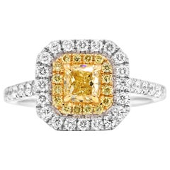 Fancy Yellow Cushion Diamond Double Halo Two Color Gold Bridal Fashion Ring
