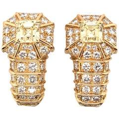 Fancy Yellow Diamond and Diamond Earrings