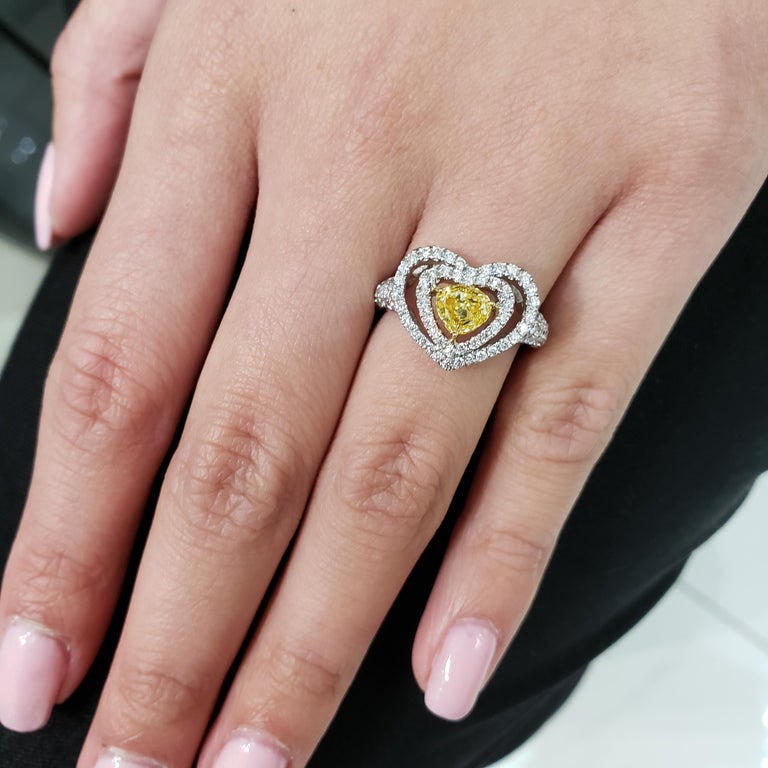 Fancy Yellow Diamond Double Halo Heart Shape Engagement Ring In New Condition For Sale In New York, NY