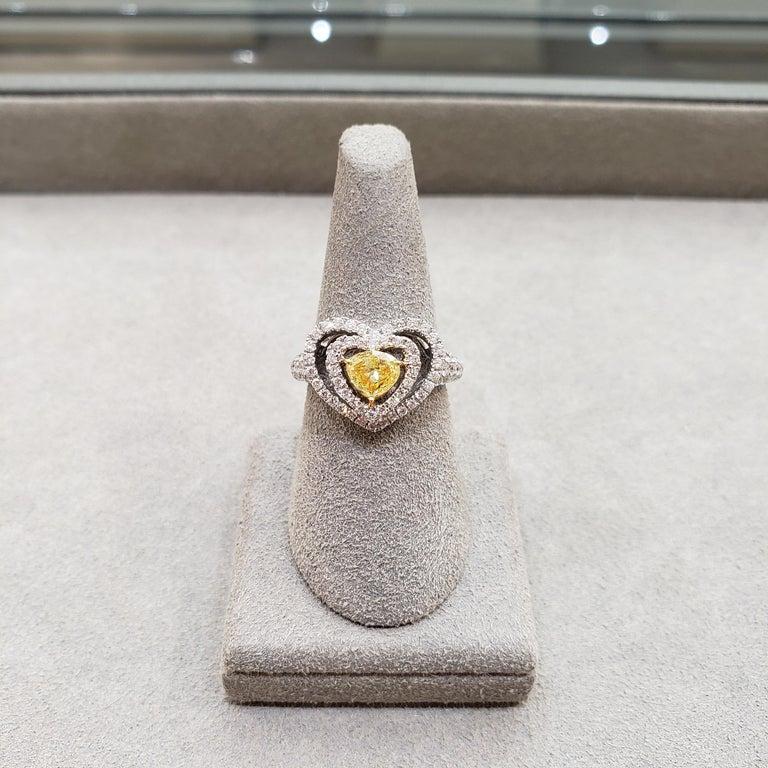 Women's Fancy Yellow Diamond Double Halo Heart Shape Engagement Ring For Sale