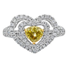 Fancy Yellow Diamond Double Halo Heart Shape Engagement Ring