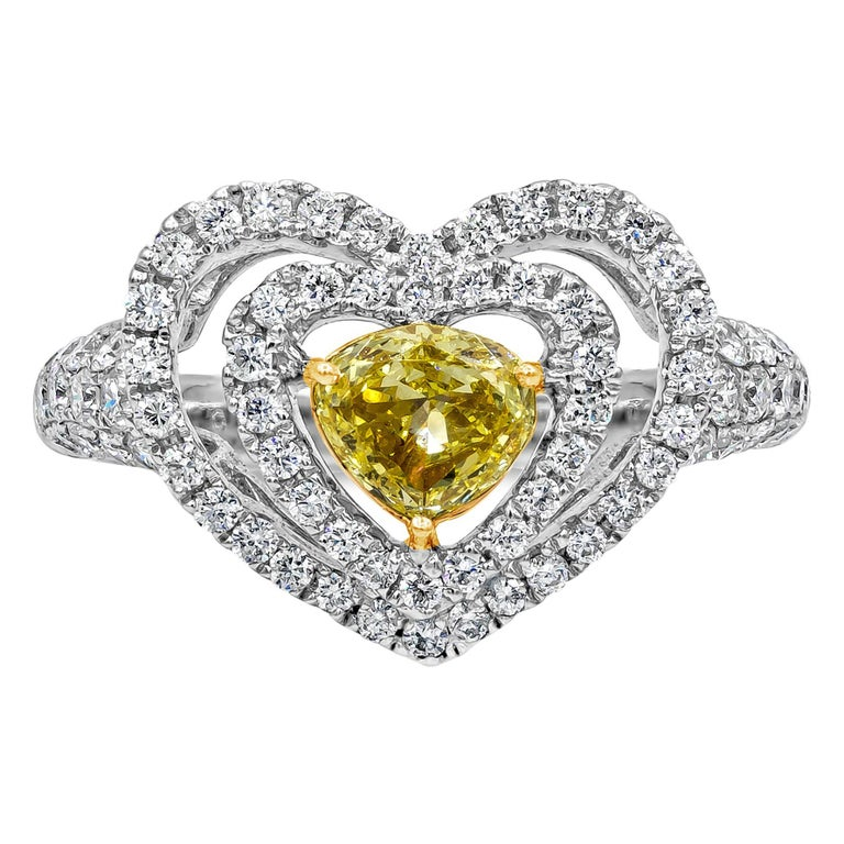 Fancy Yellow Diamond Double Halo Heart Shape Engagement Ring For Sale