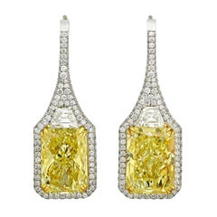 Fancy Yellow Diamond Drop Earrings