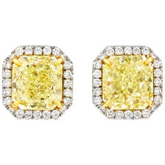 Fancy Yellow Diamond Earrings, 6.92 Carat