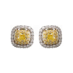 Fancy Yellow Diamond Cushion Cut Earrings