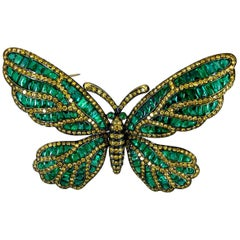 Fancy Yellow Diamond, Emerald Butterfly Brooch