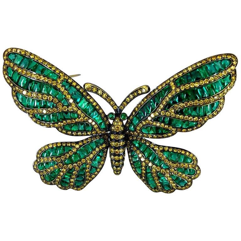 Fancy Yellow Diamond, Emerald Butterfly Brooch For Sale