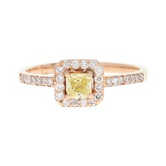 Fancy Yellow Diamond Engagement 14 Karat Rose Gold Ring